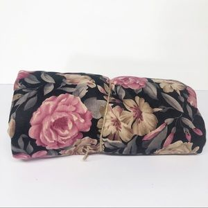Vintage Black Pink Floral Fabric Material 3 Yards
